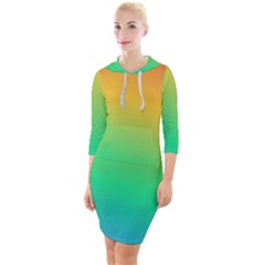 Sunburnt Splash Quarter Sleeve Hood Bodycon Dress by retrotoomoderndesigns