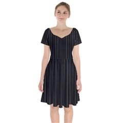 Dark Linear Abstract Print Short Sleeve Bardot Dress