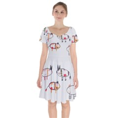 Children Children Drawing Flock Short Sleeve Bardot Dress