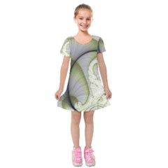 Graphic Fractal Eddy Curlicue Leaf Kids  Short Sleeve Velvet Dress