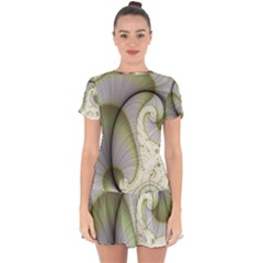 Graphic Fractal Eddy Curlicue Leaf Drop Hem Mini Chiffon Dress