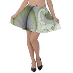 Graphic Fractal Eddy Curlicue Leaf Velvet Skater Skirt