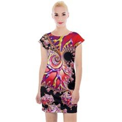 Fractals Colorful Pattern Cap Sleeve Bodycon Dress