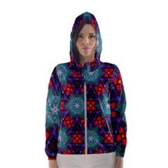 Ornament Colorful Background Color Hooded Windbreaker (women) by Pakrebo