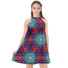 Ornament Colorful Background Color Halter Neckline Chiffon Dress