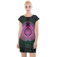 Fractal Traditional Fractal Hypnotic Cap Sleeve Bodycon Dress