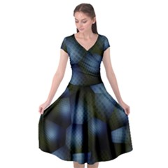 Fractal Rendering Background Green Cap Sleeve Wrap Front Dress