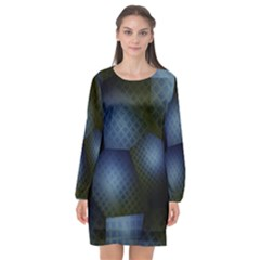 Fractal Rendering Background Green Long Sleeve Chiffon Shift Dress
