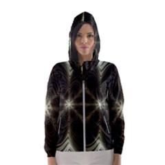 Fractal Silver Waves Texture Hooded Windbreaker (women) by Pakrebo
