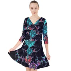 Fractal Colorful Abstract Aesthetic Quarter Sleeve Front Wrap Dress