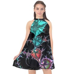 Fractal Colorful Abstract Aesthetic Halter Neckline Chiffon Dress  by Pakrebo