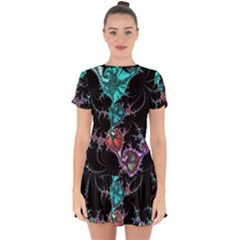 Fractal Colorful Abstract Aesthetic Drop Hem Mini Chiffon Dress