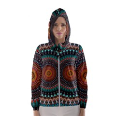 Ornament Circle Picture Colorful Hooded Windbreaker (women) by Pakrebo
