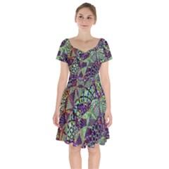 Background Design Art Artwork Short Sleeve Bardot Dress by Pakrebo