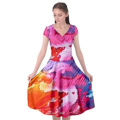 Abstract Art Background Paint Cap Sleeve Wrap Front Dress