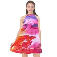 Abstract Art Background Paint Halter Neckline Chiffon Dress  by Pakrebo