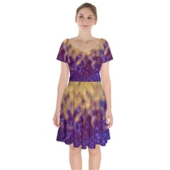 Fractal Rendering Background Short Sleeve Bardot Dress