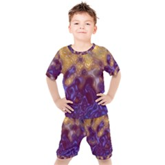 Fractal Rendering Background Kids  Tee And Shorts Set by Pakrebo