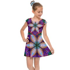 Seamless Abstract Colorful Tile Kids  Cap Sleeve Dress by Pakrebo