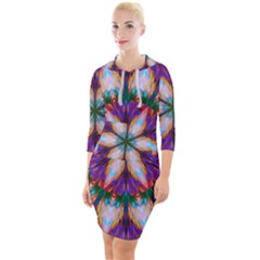 Seamless Abstract Colorful Tile Quarter Sleeve Hood Bodycon Dress by Pakrebo