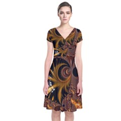 Fractal Brown Golden Intensive Short Sleeve Front Wrap Dress