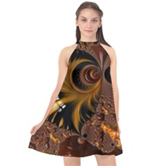 Fractal Brown Golden Intensive Halter Neckline Chiffon Dress