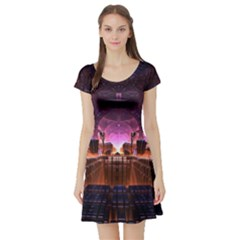 Fractal Mandelbulb 3d Short Sleeve Skater Dress