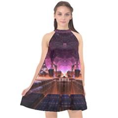 Fractal Mandelbulb 3d Halter Neckline Chiffon Dress