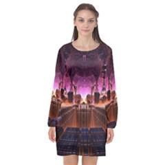 Fractal Mandelbulb 3d Long Sleeve Chiffon Shift Dress  by Pakrebo