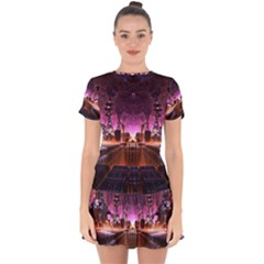 Fractal Mandelbulb 3d Drop Hem Mini Chiffon Dress by Pakrebo