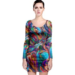 Seamless Abstract Colorful Tile Long Sleeve Bodycon Dress by Pakrebo