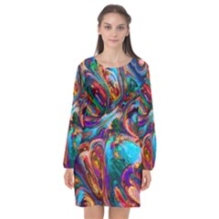 Seamless Abstract Colorful Tile Long Sleeve Chiffon Shift Dress