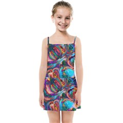 Seamless Abstract Colorful Tile Kids  Summer Sun Dress