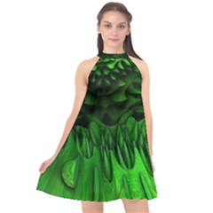 Fractal Rendering Background Green Halter Neckline Chiffon Dress