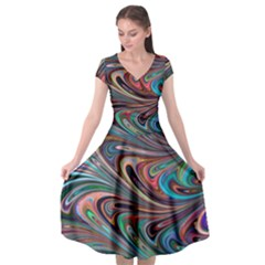 Seamless Abstract Marble Colorful Cap Sleeve Wrap Front Dress