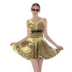 Fractal Golden Background Aesthetic Skater Dress