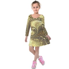 Fractal Golden Background Aesthetic Kids  Long Sleeve Velvet Dress by Pakrebo