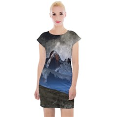 Mountains Moon Earth Space Cap Sleeve Bodycon Dress