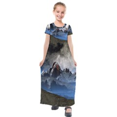 Mountains Moon Earth Space Kids  Short Sleeve Maxi Dress by Pakrebo