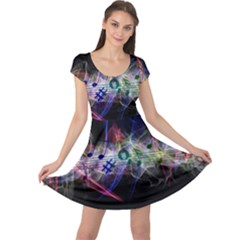 Brush Particles Music Clef Wave Cap Sleeve Dress