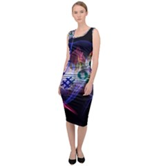 Brush Particles Music Clef Wave Sleeveless Pencil Dress by Pakrebo