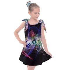 Brush Particles Music Clef Wave Kids  Tie Up Tunic Dress by Pakrebo