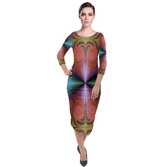 Fractal Fractal Background Design Quarter Sleeve Midi Velour Bodycon Dress by Pakrebo