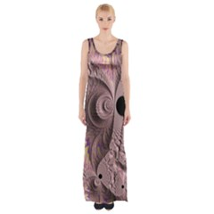 Fractal Tender Rose Cream Maxi Thigh Split Dress