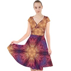 Fractal Abstract Artistic Cap Sleeve Front Wrap Midi Dress by Pakrebo