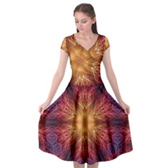 Fractal Abstract Artistic Cap Sleeve Wrap Front Dress