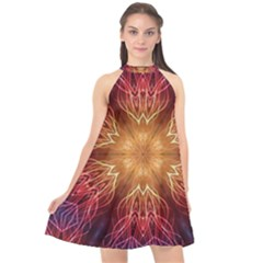 Fractal Abstract Artistic Halter Neckline Chiffon Dress