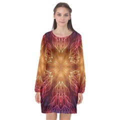 Fractal Abstract Artistic Long Sleeve Chiffon Shift Dress