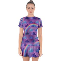 Colorful Iridescent Clouds Drop Hem Mini Chiffon Dress