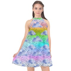 Colorful Iridescent Clouds Halter Neckline Chiffon Dress  by tarastyle